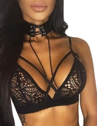 Bralette Sexy Encaje Negro Tiras Cómodo