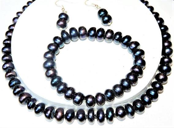 Collar - Pulsera - Arete Perla Cultivada Tahiti Peacok