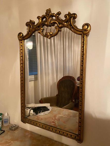 Antiguo Espejo Estilo Francés En Madera Dorado A La Hoja