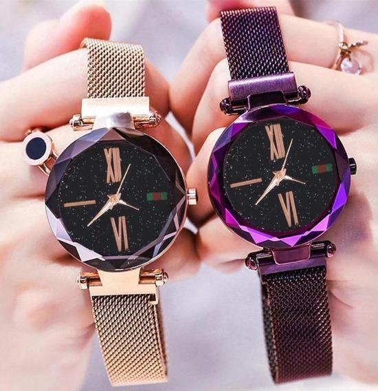 Kit 2 Relógios Feminios Pulseira De Aço Fecho Magnético
