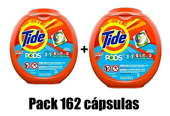 2 Pack Tide Pods 3 En 1 (162 Capsulas) Detergente He