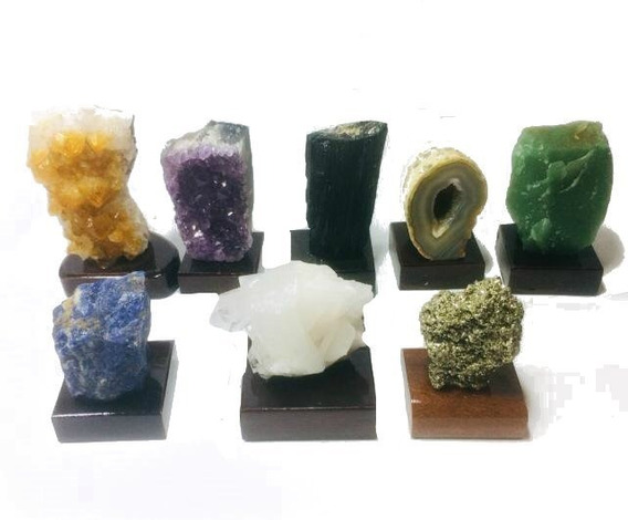 Kit Colecionador Pedras Brasileiras 8 Drusas Semi Preciosas
