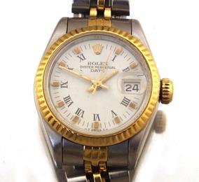 Relógio De Pulso Rolex Oyster Perpetual Date Aço Ouro J17299