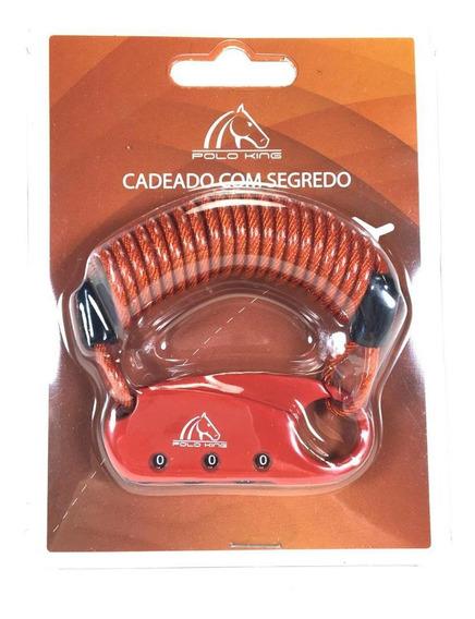 Cadeado Cabo De Aço Com Segredo Polo King Cd011 Vermelho