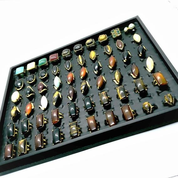 Kit Revenda 40 Anéis Pedra Natural Banhado Ouro Atacado 4705