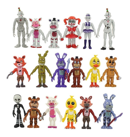 Kit Five Night At Freddy 18 Bonecos Brinquedo Game Ps4 Xbox