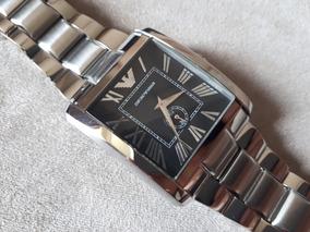 Relógio Original Empório Armani Caixa Quadrada Toda Em Aço
