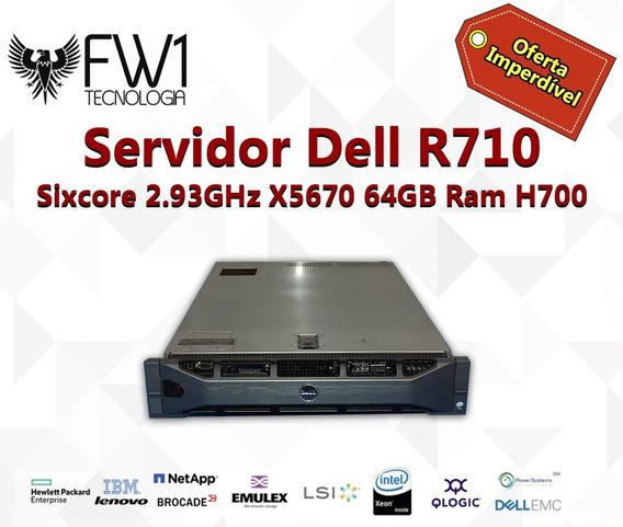 Servidor Dell R710 2 Sixcore 2.93ghz X5670 64gb Ram H700
