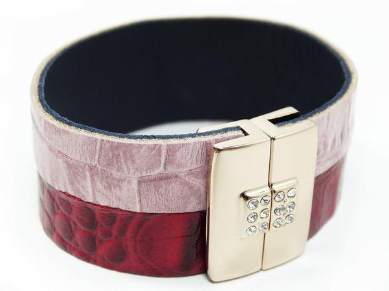 Pulseira Bracelete Rosa E Vermelha Em Cirrê Ecológico