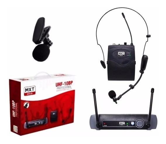 Microfone Mxt Lapela Sem Fio Headset Uhf 10 Bp Profissional