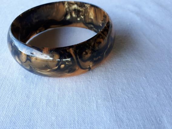 Pulseira Baquelite Anos 50 Dourada Com Preto Perolada
