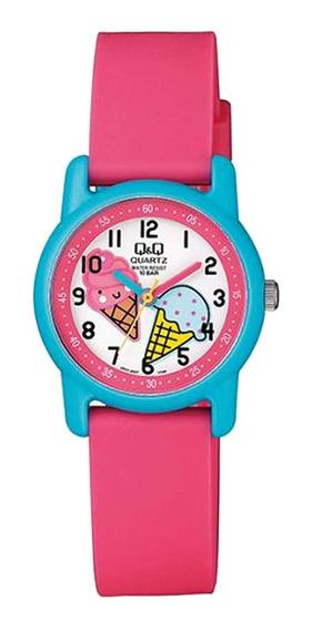Relógio Feminino Infantil Rosa E Azul Q&q Prova D