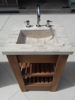 Mueble Vanitory 50x40 Deck + Cajon Mesada Travertino Baño