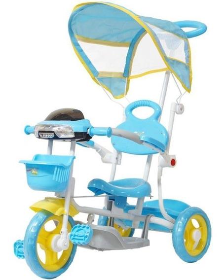 Carrinho Passeio Triciclo Infantil Com Empurrador - Azul