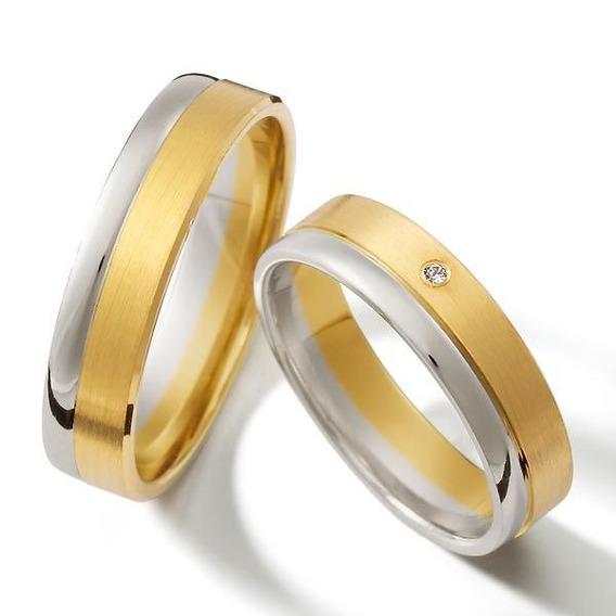 Aliança De Ouro E Prata 6mm