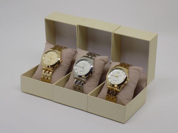 Kit 3 Relógios Feminino Original Com Caixa Varejo Atacado