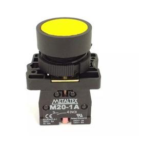 Kit C/ 02 - Botão Pulsador Para Furo 22mm Amarelo Metaltex