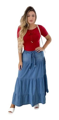 Imagem 1 de 4 de Saia Jeans Longa Três Marias Clara Moda Evangélica Feminina