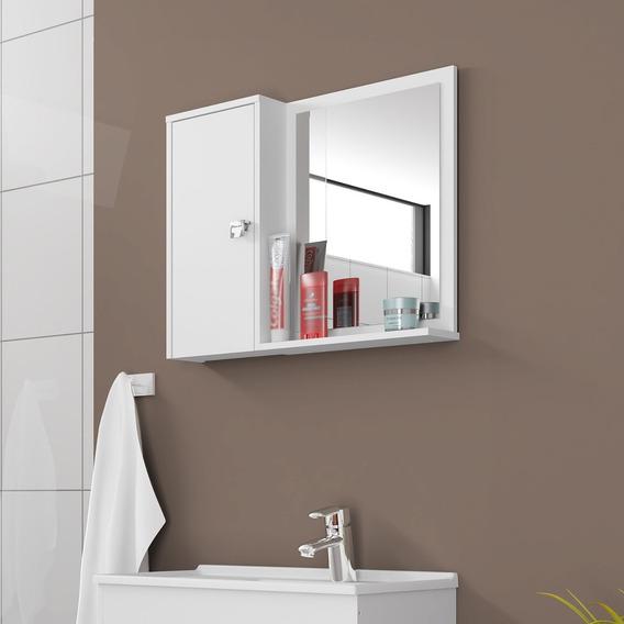 Espelheira Banheiro 1 Porta Móveis Bechara Gênova Branca