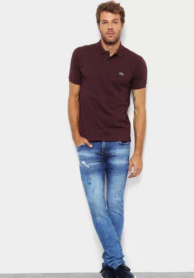 Camiseta Lacoste Gola Polo Importada Vinho Masculina Peruana
