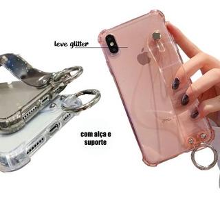 Case Capinha Glitter Com Alça De Segurança Todos Os Modelos