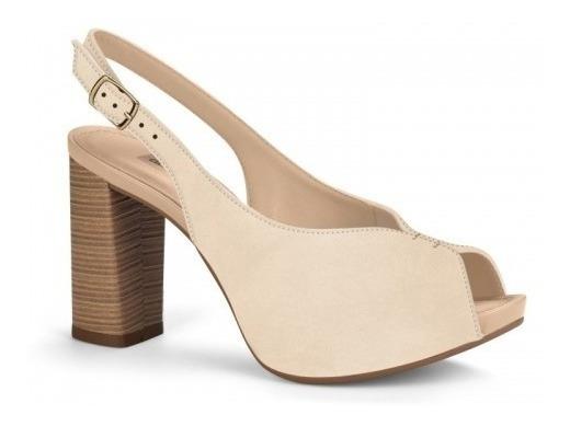 Peep Toe Sapato Salto Grosso Feminino Dakota G1341 Bege
