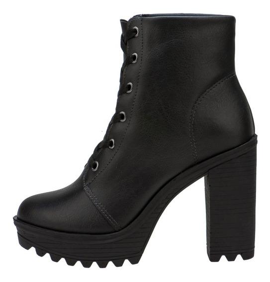 Bota Feminina Coturno Sapato Salto Alto Tratorado Cano Baixo