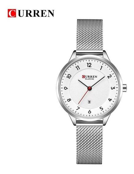 Relógio Feminino Curren 9035 Luxo Ultra Fino Original Nf-e