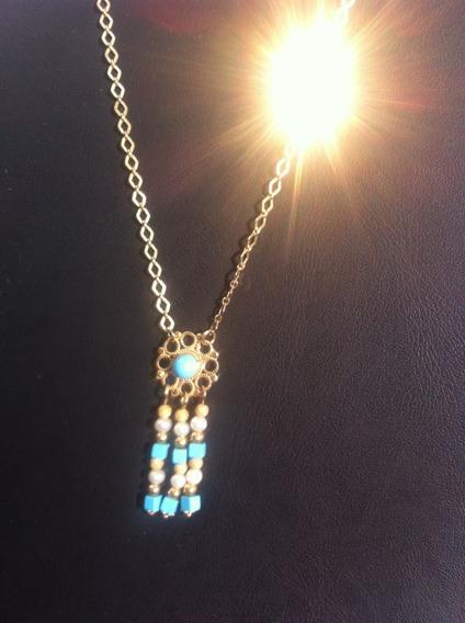 Collar Oro Solido 14k, Collar Turquesa,proteccion Mal De Ojo