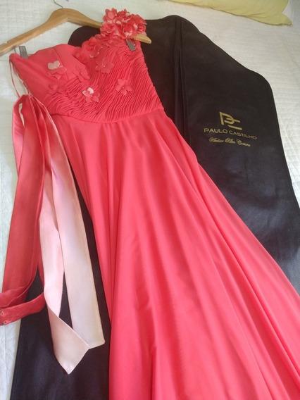 Vestido De Festa Coral Longo
