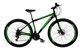 Bicicleta Aro 29 Quadro 19 Freio Disco 21v Preto Verde Dropp