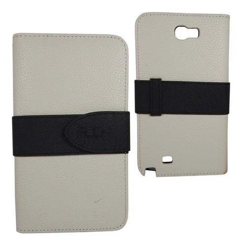 Samsung Galaxy Note 2 Funda Rock Flip Cover Cartera Blanco