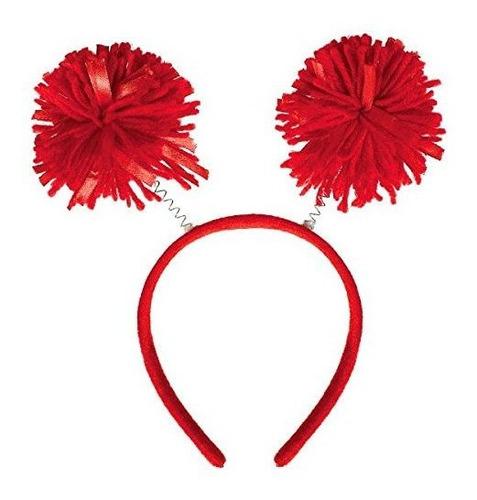 Amscan Pom Pom Headbopper, Accesorio De Fiesta, Rojo, 9  X 4