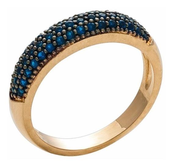 Anel Meia Aliança Aparador Zircônias Azul Folheado Ouro 18k
