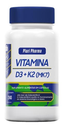 Vitamina D3 10.000ui +  Vitk2 Mk7 100mcg C/240 Cápsulas