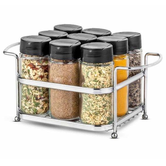 Porta Condimentos Mini Cesta Com 9 Potes De Vidro