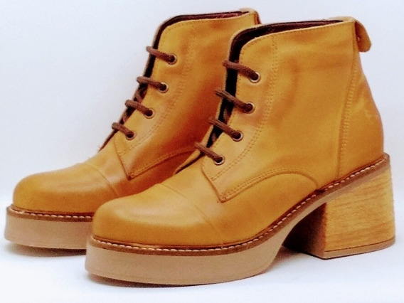 Borcego Taco Plataforma Cuero Mujer Nueva Temporada Tk Shoes