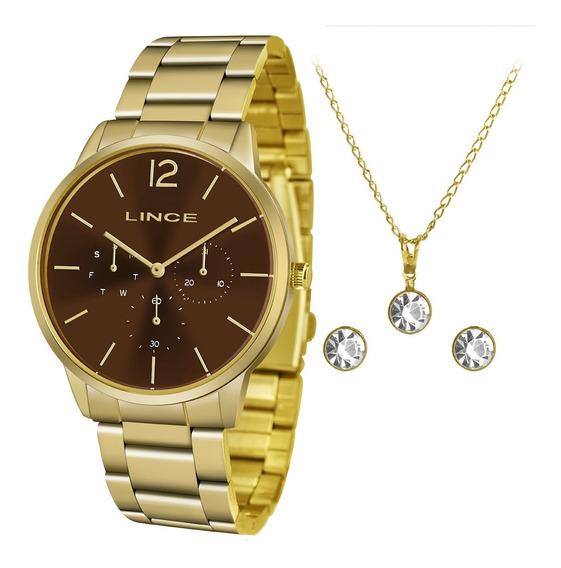 Relógio Lince Dourado Lmgj087l N2kx Feminino + Kit C/ Nf