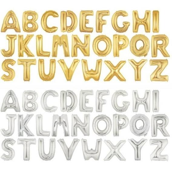 Globos Letras 40 Cm-metalizados Dorado Plateado-capital Fede