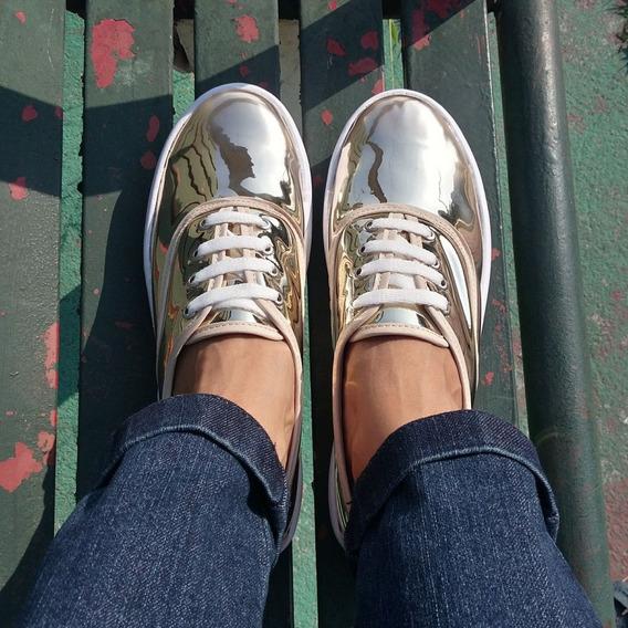 Tenis Sneaker Dorado Espejo Moda Para Mujer
