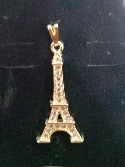 Pingente Folheado A Ouro Com Strass - Torre Eiffel