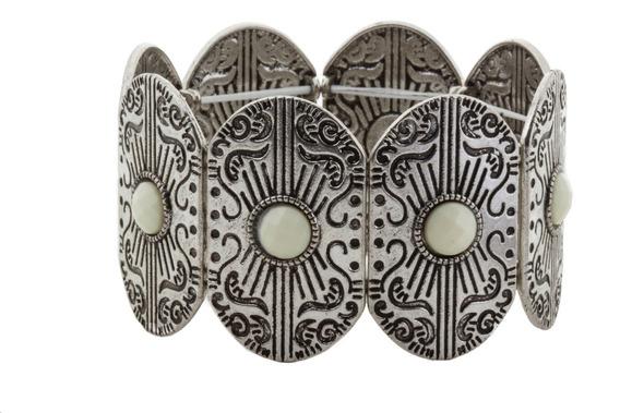 Bracelete Boho Prateado Branco - Unico