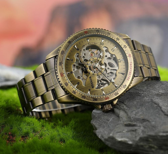Relógio Masculino Mecânico Automático Winner Lançamento