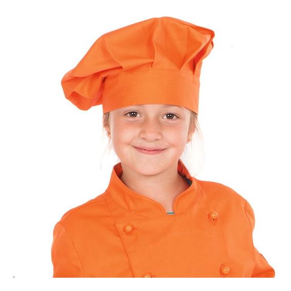 Gorro Chef Para Niño Ajustable Talla 12 Color Naranja