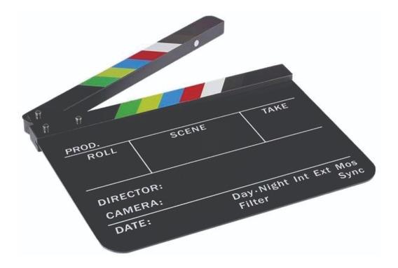 Claquete Profissional Cinema Com Imã - Acrílico Preto Branco