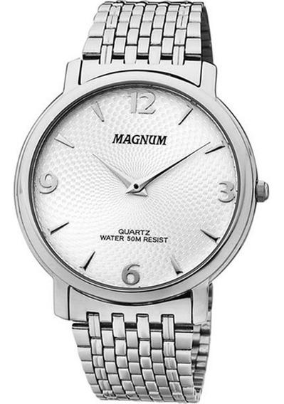 Relógio Magnum Masculino Slim Ma21624s Aço Analogico
