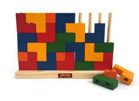 Jogo Educativo Brinquedo Madeira Blocos De Encaixe Vertical