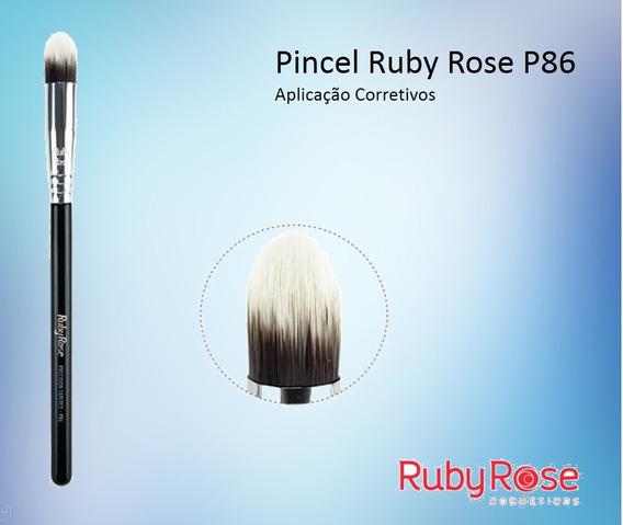 3 Pincel Ruby Rose Precison Tapered P86 Corretivo Kit C/ 3 U