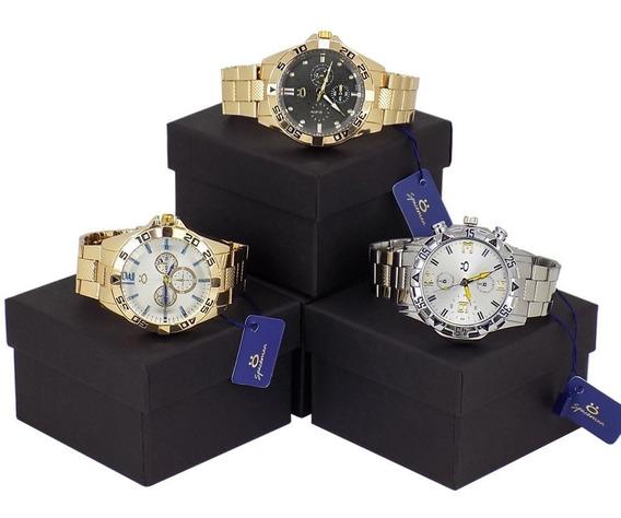 Kit Com 3 Relógios Orizom Originais Dourado Prata