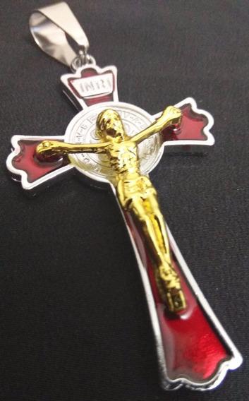Pingente Crucifixo Aço Inoxidável Antialérgico 8,5 Cm Grande